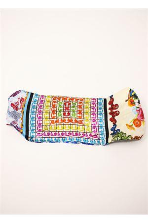 Majolica and flowers pattern silk headband La Dolce vista | 20000050 | FASCIAMINIMAIOLICMAJOLICAMULTI
