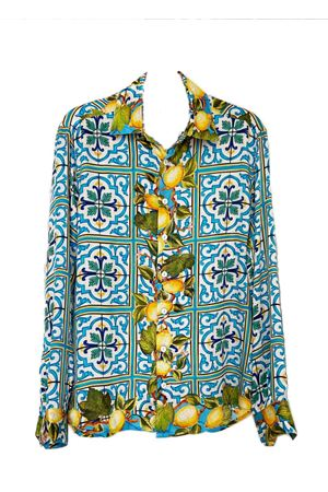 Lemons and majolica pure silk shirt  La Dolce Vista | 6 | SILKSHIRTLEMONSANDMAJOLICA