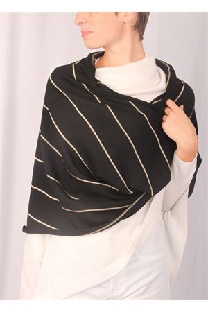 Wool shrug with gold colour stripes Art Tricot | 77 | 2016142ORO