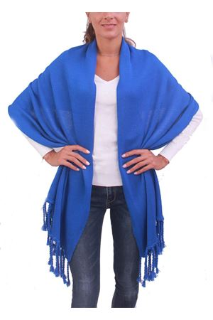 Blue wool stole with fringes Capri Chic | 61 | STOLAFRBLU