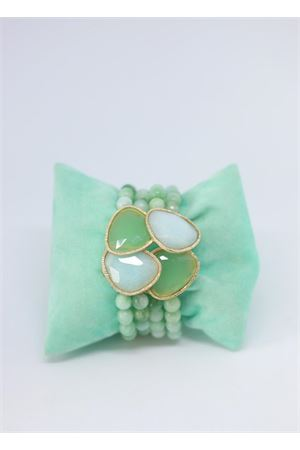 Green pearls elasticated bracelet Estrosia | 36 | BRAC QUARZOTORMALINA