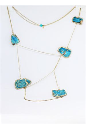 Long necklace with light blue stones Estrosia | 35 | CLD12TURCHESE