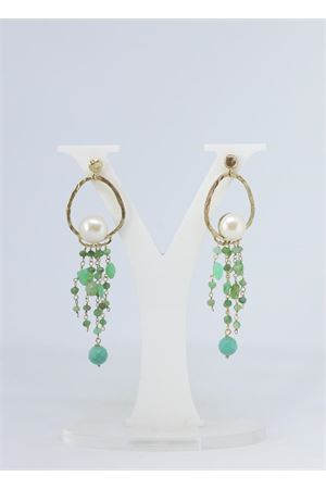 Green stones earrings with pearls  Estrosia | 48 | ORD 26PERLA