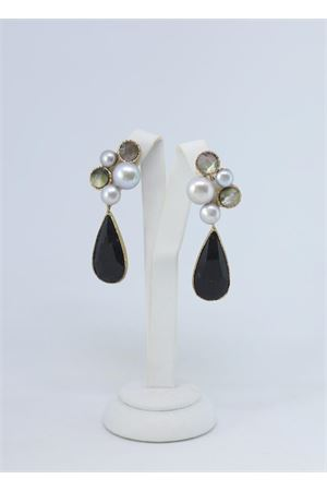 Black hanging earrings with pearls Estrosia | 48 | ORD 31.4MADRE PERLA QUARZO