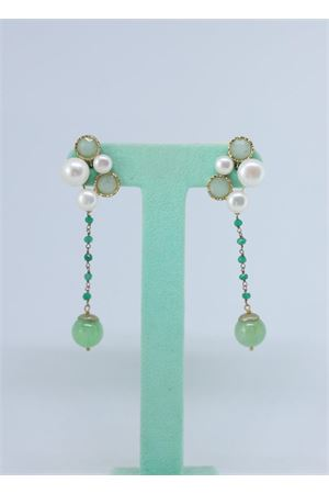 Green pendant earrings with pearls  Estrosia | 48 | ORD 33.2QUARZO PERLA
