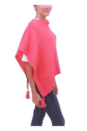 Poncho mantella in lana rosa fragola La Bottega delle Idee | 52 | PBWOOLE56ROSSO