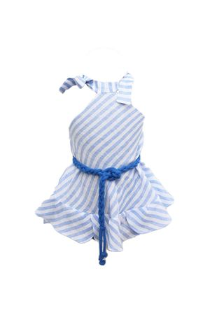 Linen white and light blue dress for baby girl  Scacco Matto | 5032262 | BABYDRESSAZZURRO