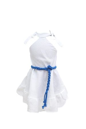 White linen dress for baby girl  Scacco Matto | 5032262 | BABYDRESSBIANCO