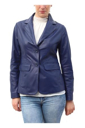 Blue leather jacket for woman  Scacco Matto | 3 | GIACCA NAPPA DONNABLU