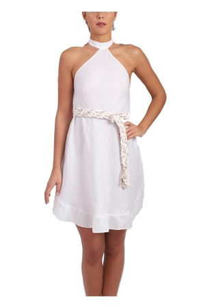 White linen dress with ruffles Scacco Matto | 5032262 | LINO DRESSBIANCO