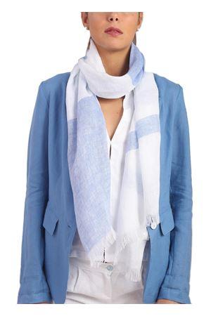White and blue linen unisex scarf Scacco Matto | 77 | SCIARPE SCACCORICHE AZZ