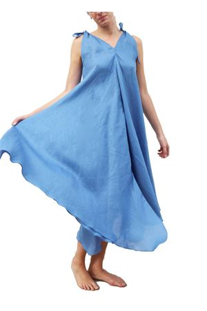 Wide light blue linen dress  Scacco Matto | 5032262 | VESTITO AMPIOAZZURRO