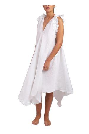 Vestito bianco in lino con rouche Scacco Matto | 5032262 | VESTITO BIANCO LUNGOBIANCO