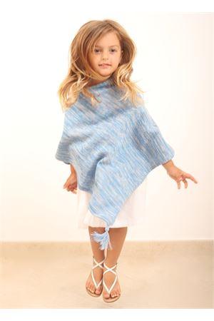 Baby cape with blue pom poms Art Tricot | 52 | PONCHOBABYCELESTE