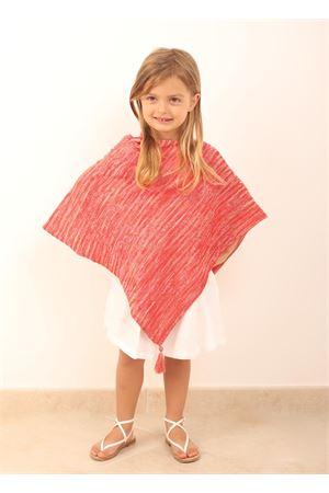 mantella da bambina con pon pon rosso Art Tricot | 52 | PONCHOBABYROSSO
