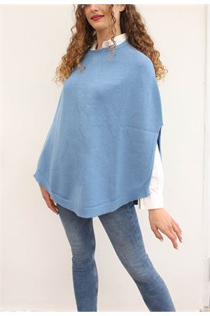 Light blue wool poncho cape Art Tricot | 52 | PONCHOMAGLIAAZZURRRO