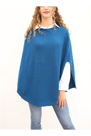 Blue petroil wool poncho for woman  Art Tricot | 52 | PONCHOMAGLIAPETROLIO