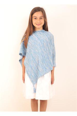Poncho da bambina con pon pon azzurro Art Tricot | 52 | PONCHORAGAZZACELESTE