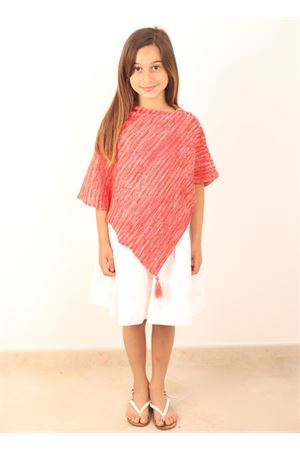 Red poncho for a girl Art Tricot | 52 | PONCHORAGAZZAROSSO