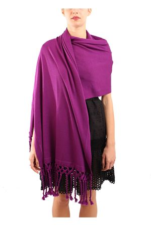 Wool stole with fringes  Art Tricot | 61 | STOLAFRANGIAVIOLA
