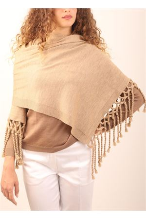 merino wool stole with fringe Art Tricot | 61 | STOLAPOMPOMBEIGE