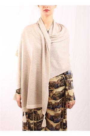 Wool shawl with pom pom  Art Tricot | 61 | STOLAPONPONBEIGEMELANGE