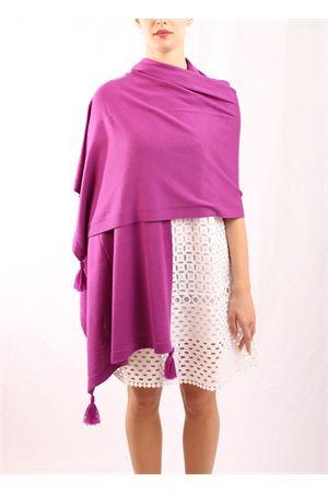 Violet pom pom Capri wool stole Art Tricot | 61 | STOLAPONPONVIOLE
