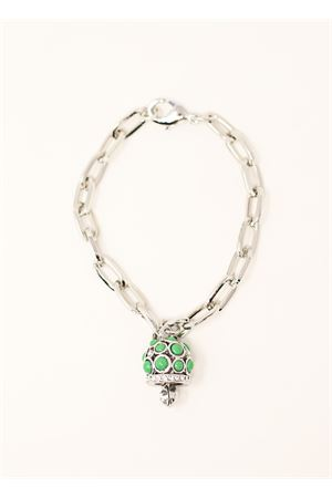 Metal bracelet with capri bell green charm  Bell | 36 | BRACCIALECATENAVERDE
