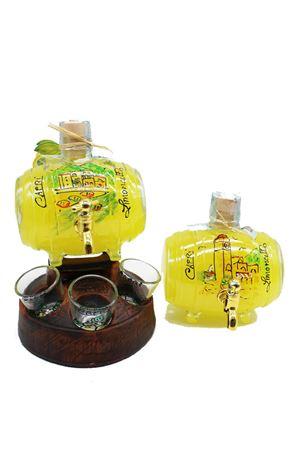limoncello con botte e bicchieri da liquore dipinti a mano Capri Più | 20000064 | BOTT50PAES500ML