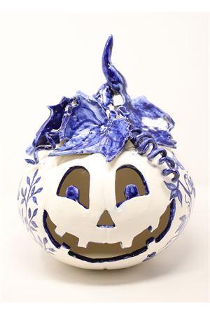 portacandela a forma di zucca di halloween in ceramica Ceramicapri | 20000025 | ZUCCABLU