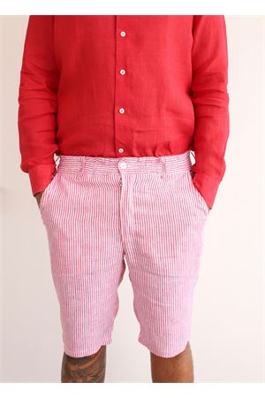 Striped red and white linen bermuda shorts  Colori Di Capri | 5 | BERMUDAUOMORIGAROSSO