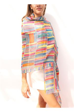 linen stole with multicolored pattern  Colori Di Capri | 61 | COMBOBMULTICOLOR