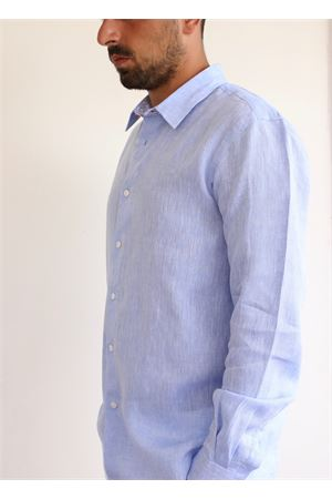 Light blue pure linen shirt  Colori Di Capri | 6 | REGULARCELESTETARGET