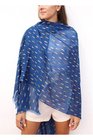 Blue cotton scarf with fhis pattern  Colori Di Capri | 61 | STOLABLU