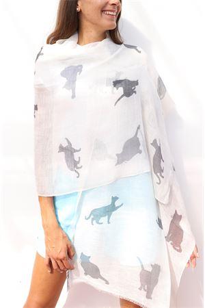 Stola in puro lino con fatnasia di gatti Colori Di Capri | 61 | STOLAGATTIBIANCO