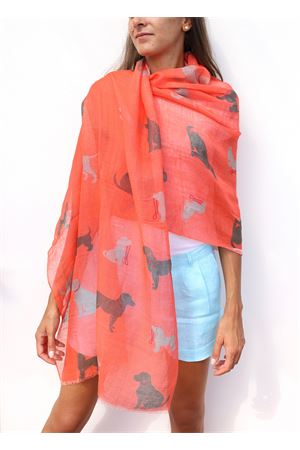Coral red stole with dachshunds pattern  Colori Di Capri | 61 | STOLALINENBARBONCINI