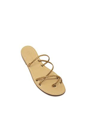 Bronze capri sandals with braids Da Costanzo | 5032256 | TRECCINE2BRONZO