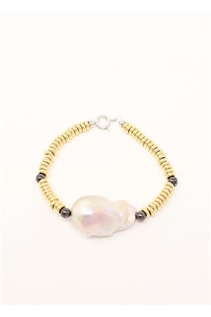 Yellow and black gold bracelet with pearl  Don Alfonso Gioielli | 36 | AGO15BIGOLD