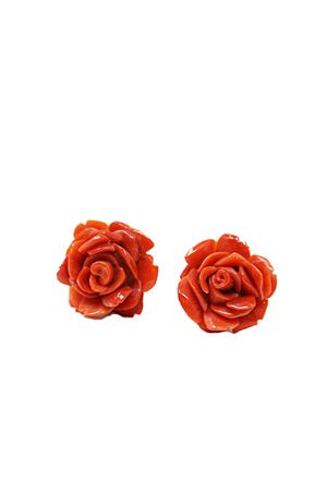 Coral earrings in the shape of rose  Don Alfonso Gioielli | 48 | AL075ROSSO