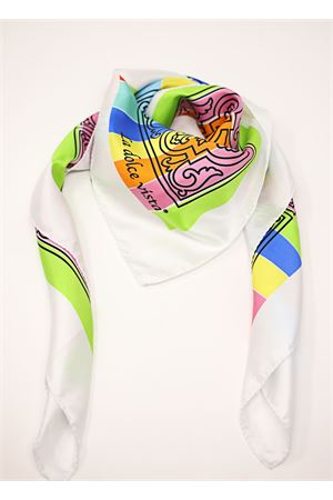 Majolica and stripes pattern pure silk scarf  La Dolce Vista | -709280361 | MAJOLICARAINBOWRAINBOW