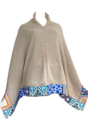 Beige 100% cashmere poncho cape with silk application La Dolce Vista | 52 | PONCHOCASHMERESETABEIGE