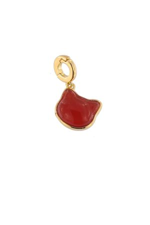 Orange carnelian and golden silver charm cat-shaped Mediterranee Passioni | 5032249 | CHARM SAMMYARANCIONE