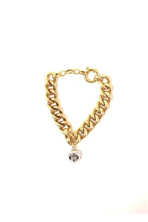 Golden silver bracelet with capri bell charm  Bell | 36 | BR001BICOLORE