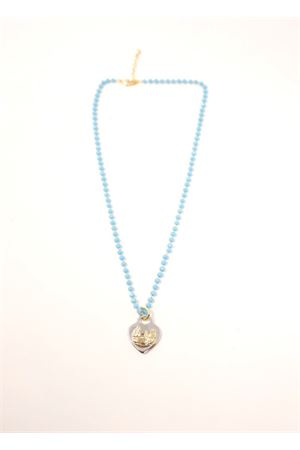 collana con perline turchesi e cuore Faraglioni | 35 | CL003FARAZZURRO