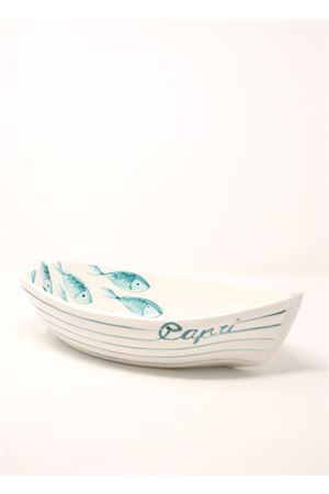Deep plate in ceramic in the shape of boat  Sea Gull Capri | 5032235 | BARCAPESCIPESCI