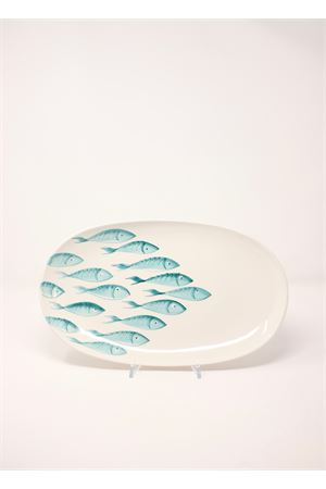 Cearmic plate with turquoise fishes Sea Gull Capri | 5032235 | OVALEPESCIPESCI