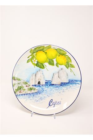 Serving plate in ceramic with faraglioni and lemons  Sea Gull Capri | 5032235 | PIATTOCAPRIGR25CM