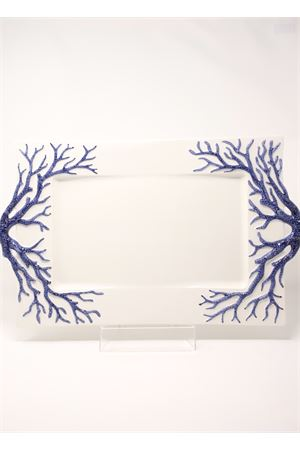 Big ceramic tray with blue corals  Sea Gull Capri | 20000015 | VASSOIOCORALLOGRBLU