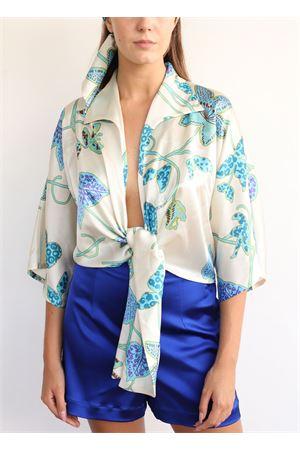 Camicia in seta con fiori azzurri Capri Chic | 6 | CAMICIANODOBEIGEBLU