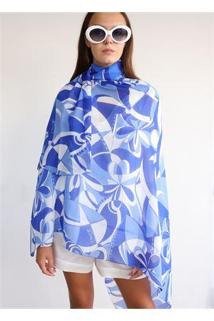 Maxi sciarpa in chiffon con stampa geometrica Capri Chic | 77 | FOULARDCHIFFONAZZURRO